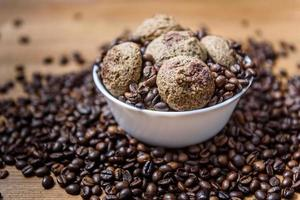 Coffee cookies in a plate with sprinkled coffee beans