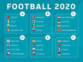 European football 2020 tournament final stage groups vector stock illustration. 2020 European soccer tournament with background. Vector country flags