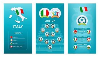 Conjunto de banner vertical de fútbol europeo 2020 para redes sociales. Italia agrupa una pancarta con mapa isométrico, bandera pin, calendario de partidos y alineación en el campo de fútbol vector