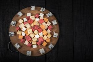 Many kinds of cheeses photo