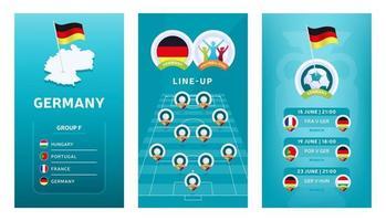 Conjunto de banner vertical de fútbol europeo 2020 para redes sociales. Bandera del grupo f de Alemania con mapa isométrico, bandera pin, calendario de partidos y alineación en el campo de fútbol vector