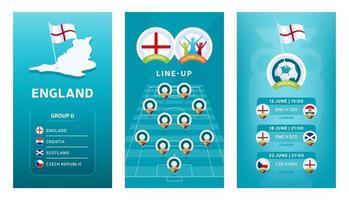 Conjunto de banner vertical de fútbol europeo 2020 para redes sociales. Bandera del grupo d de Inglaterra con mapa isométrico, bandera pin, calendario de partidos y alineación en el campo de fútbol vector