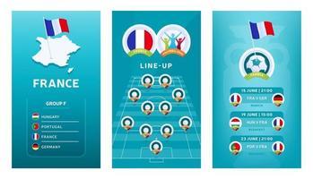 Conjunto de banner vertical de fútbol europeo 2020 para redes sociales. Bandera del grupo f de Francia con mapa isométrico, bandera pin, calendario de partidos y alineación en el campo de fútbol vector