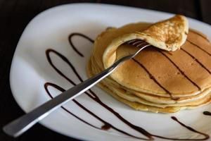 Pancakes with cappuccino photo
