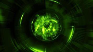 mouvement de boucle d'interfaces d'hologramme de cercle hud vert néon