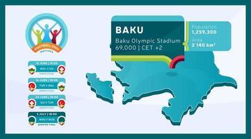 Baku stadium football 2020 vector