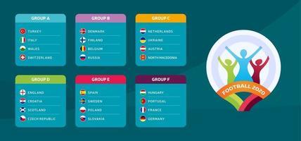 fútbol 2020 grupos selección nacional vector