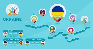 ukraine isometric map football 2020 vector