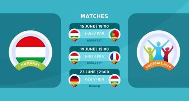 Hungary football 2020 matches vector