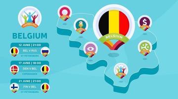 Belgium isometric map football 2020 vector