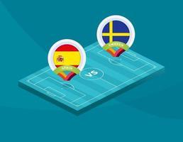 fútbol españa vs suecia vector