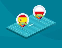 fútbol españa vs polonia vector