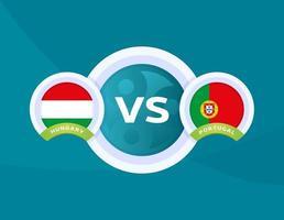 hungría vs portugal fútbol vector