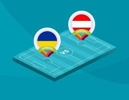 ukraine vs austria football vector