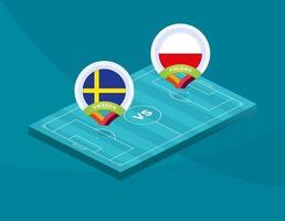 suecia vs polonia fútbol vector