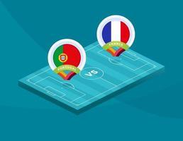fútbol portugal vs francia 2020 vector