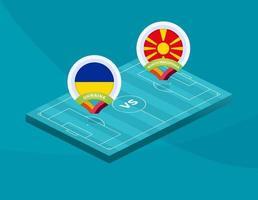 ukraine vs note macedonia football vector