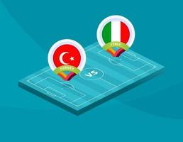 fútbol turquía vs italia vector