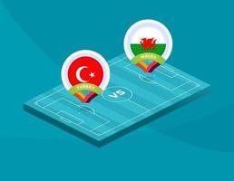 turkey vs Wales football vector