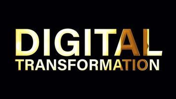 texto de transformação digital com animação de loop de luz dourada