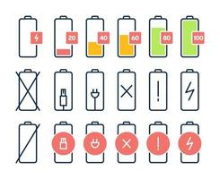Battery charge icon set vector