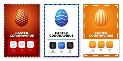 coronavirus Easter egg poster set prevention vector