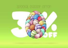 30 percent off sale easter banner vector