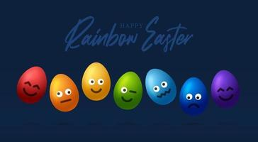 Set of rainbow easter eggs with emojis. Realistic 3d vector egg character card