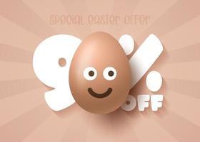 Happy Easter Sale banner. Easter Sale 90 off banner template with smile emoji brown Easter Eggs. Vector illustration