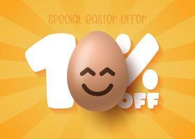 Happy Easter Sale banner. Easter Sale 10 off banner template with smile emoji brown Easter Eggs. Vector illustration