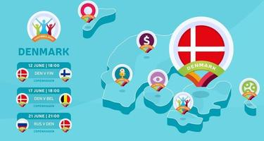 Denmark isometric map match football vector