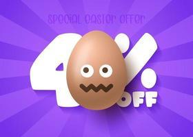 banner de venta de feliz pascua. venta de pascua 40 de descuento en plantilla de banner con sonrisa emoji huevos de pascua marrones. ilustración vectorial vector