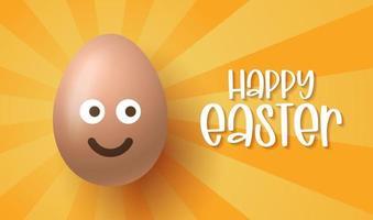 felices pascuas, huevos de pascua con linda cara sonriente emoji, ilustración vectorial. vector