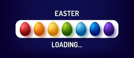 barra de progreso con inscripción: carga de Pascua y huevo de arco iris decorado en estilo realista. ilustración vectorial para el diseño de camisetas, carteles, tarjetas de felicitación, decoración de pascua. vector