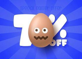 Happy Easter Sale banner. Easter Sale 70 off banner template with smile emoji brown Easter Eggs. Vector illustration
