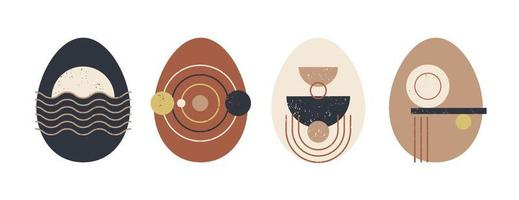Set of minimalistic geometric easter egg with geometric shape elements. Modern boho contemporary creative trendy abstract templates vector illustration.