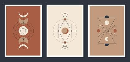 A set of minimalistic posters with celestial bodies. Posters in a modern boho style. The moon and the stars. Vector mystical Illustration cards.