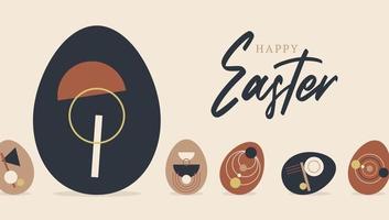 Tarjeta de Pascua festiva con patrón de decoración de huevos sobre fondo claro. tarjeta de felicitación de vector boho