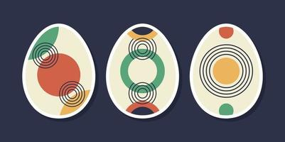 Set of minimalistic geometric easter egg with geometric shape elements. Modern contemporary creative trendy abstract templates vector illustration.