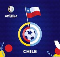 Chile wave flag on pole and soccer ball. South America Football 2021 Argentina Colombia vector illustration. Tournament pattern abckground