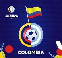 Colombia wave flag on pole and soccer ball. South America Football 2021 Argentina Colombia vector illustration. Tournament pattern abckground