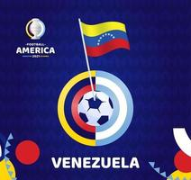 Venezuela wave flag on pole and soccer ball. South America Football 2021 Argentina Colombia vector illustration. Tournament pattern abckground