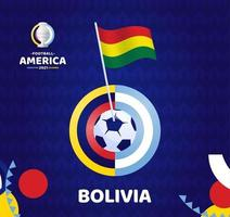 Bolivia wave flag on pole and soccer ball. South America Football 2021 Argentina Colombia vector illustration. Tournament pattern abckground