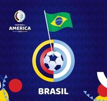 Brazil wave flag on pole and soccer ball. South America Football 2021 Argentina Colombia vector illustration. Tournament pattern abckground