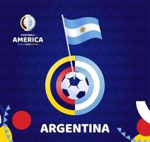 Argentina wave flag on pole and soccer ball. South America Football 2021 Argentina Colombia vector illustration. Tournament pattern abckground