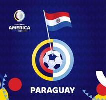 Paraguay wave flag on pole and soccer ball. South America Football 2021 Argentina Colombia vector illustration. Tournament pattern abckground