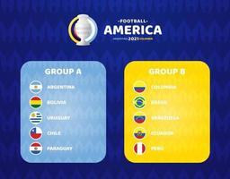fútbol de américa del sur 2021 argentina colombia ilustración vectorial. dos torneos de fútbol de la fase final del grupo a y del grupo b vector