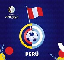 Peru wave flag on pole and soccer ball. South America Football 2021 Argentina Colombia vector illustration. Tournament pattern abckground