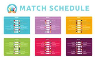 Football 2020 tournament final stage groups vector stock illustration with matches schedule. 2020 European soccer tournament table with background. Vector country flags