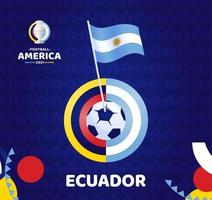 Ecuador wave flag on pole and soccer ball. South America Football 2021 Argentina Colombia vector illustration. Tournament pattern abckground